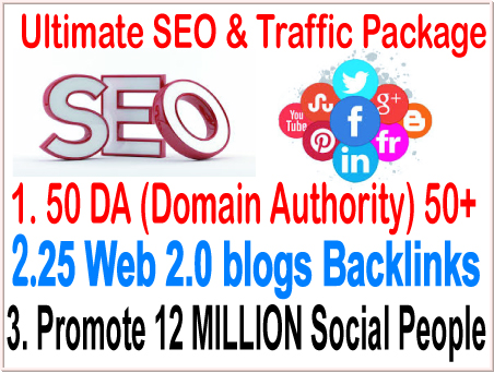 Top SEO& smm campaigns-50 DA (Domain Authority) 50+ Do-follow- 25 Web 2.0 blogs backlinks-Promote  12 Million social People