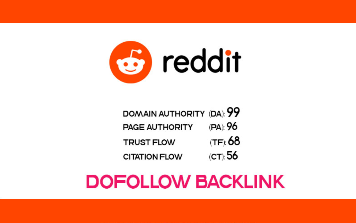 Get Dofollow Backlink From Reddit.com DA99, DR95