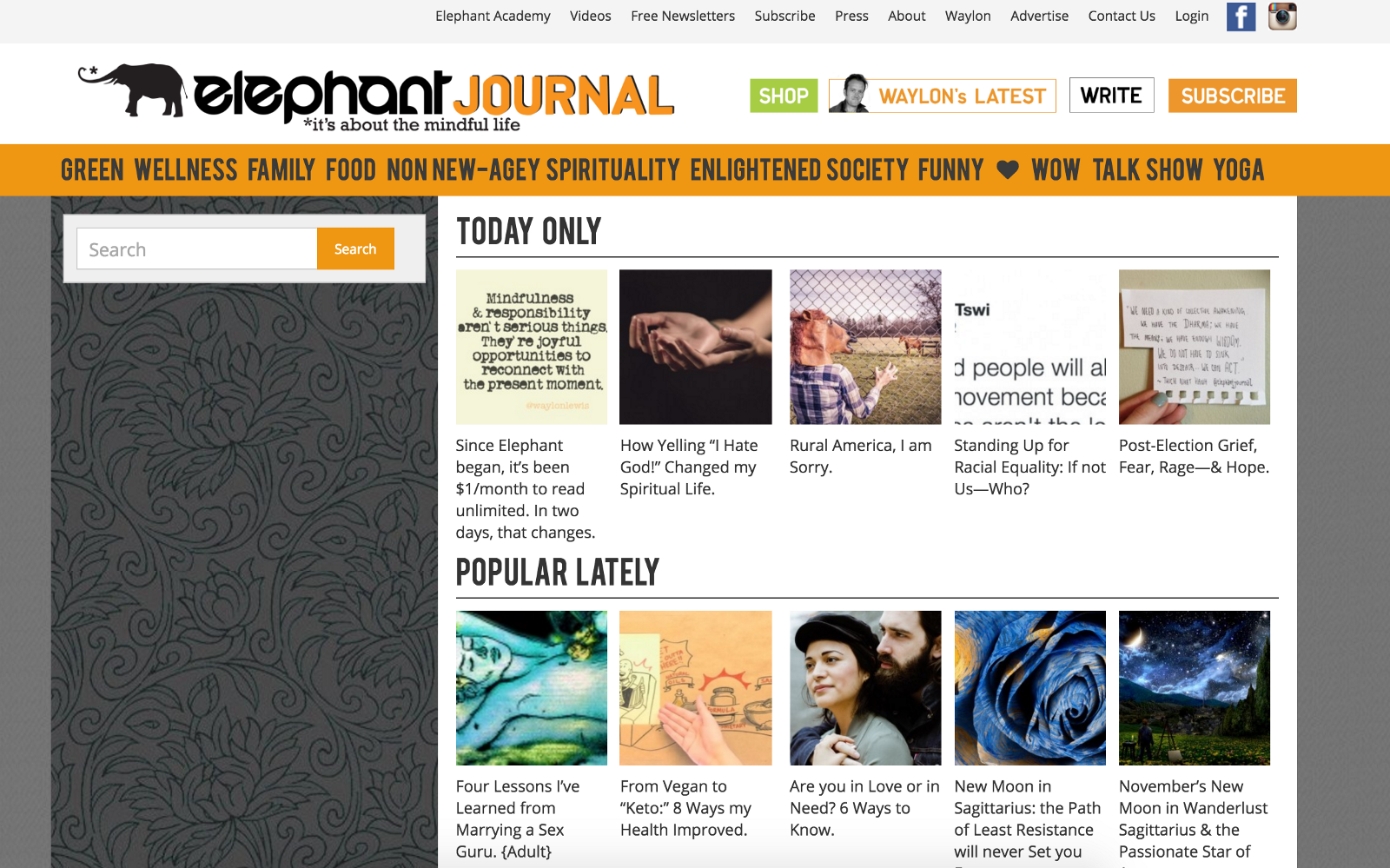 Publish a guest post on ElephantJournal. com DA-73 PA-61 Backlink
