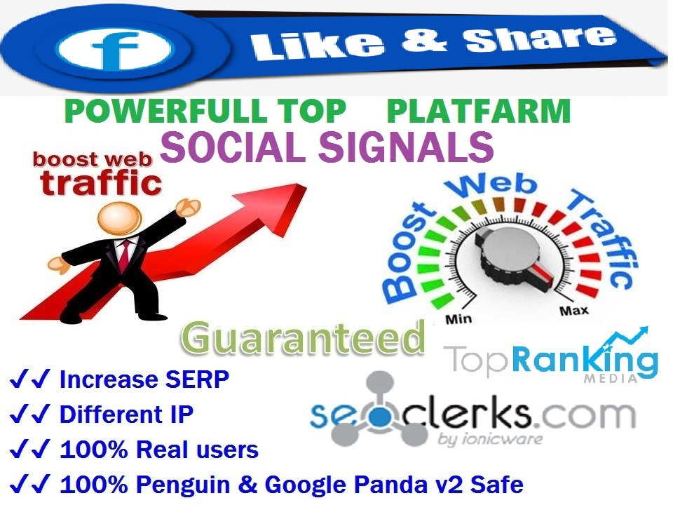 Powerfull Top 1 P10 Platform 6000 SEO / Mixed / Social Signals / Backlinks / Bookmarks / Traffic / Important Ranking
