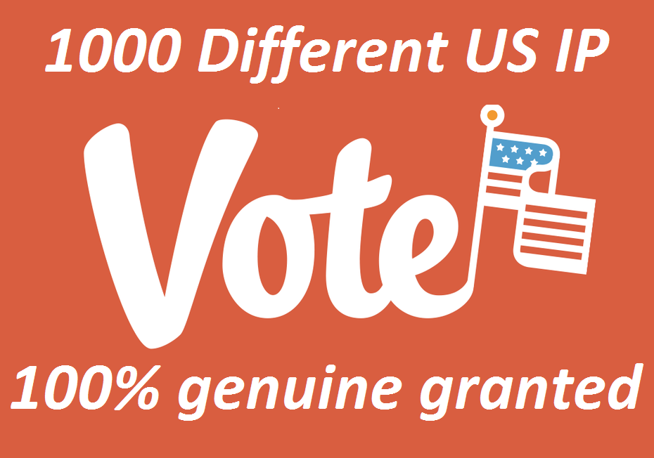 Grow up 1000 Different USA ip online contest votes poll
