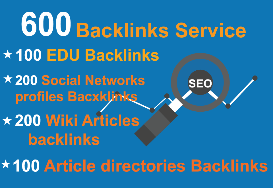 Unique 100 EDU,  200 Social Networks profiles,  200 Wiki articles,  100 Article directories Backlinks