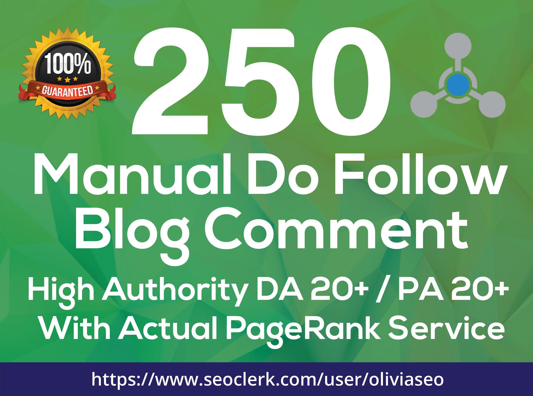 Provide 250 Manual Dofollow Blog Comment Low OBL Backlink
