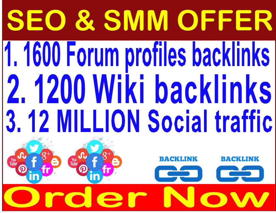 Rank on Google Alexa by exclusive- 12 Million Social traffic- 1600 Forum profiles backlinks-1200 Wiki backlinks