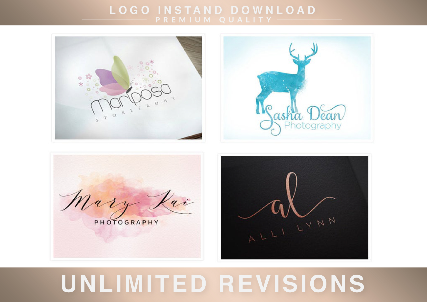 Hand Drawn Feminine Signature Watercolor Logo In 24 Hours