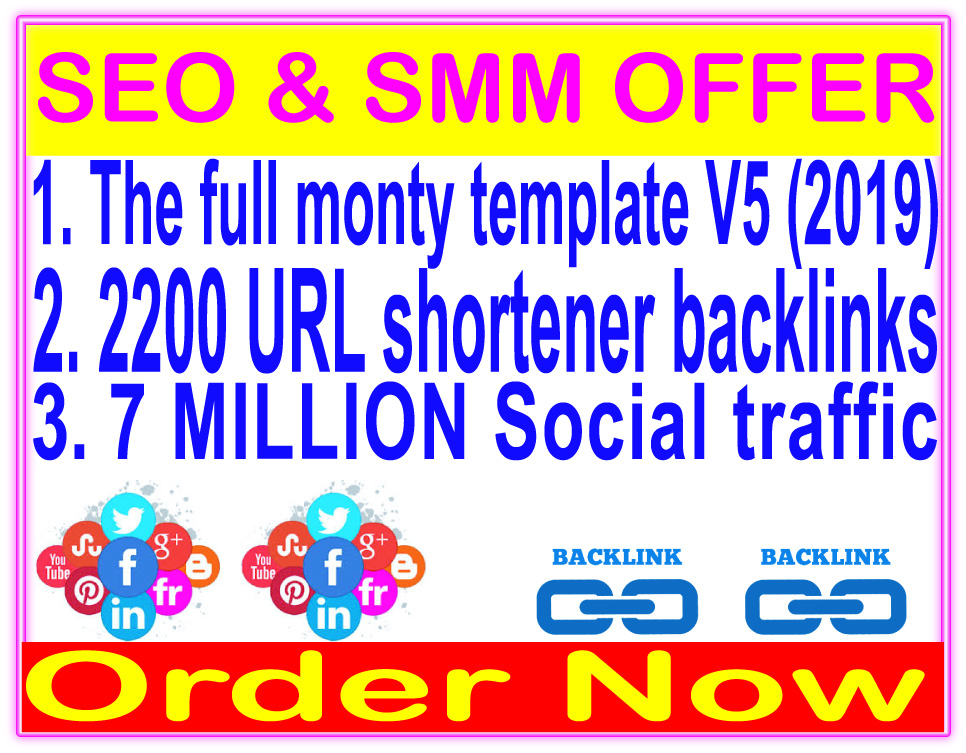 SEO & Social Package- SEnuke - The full monty template V5-2200 URL shortener backlinks-Promotion 7 Million social People