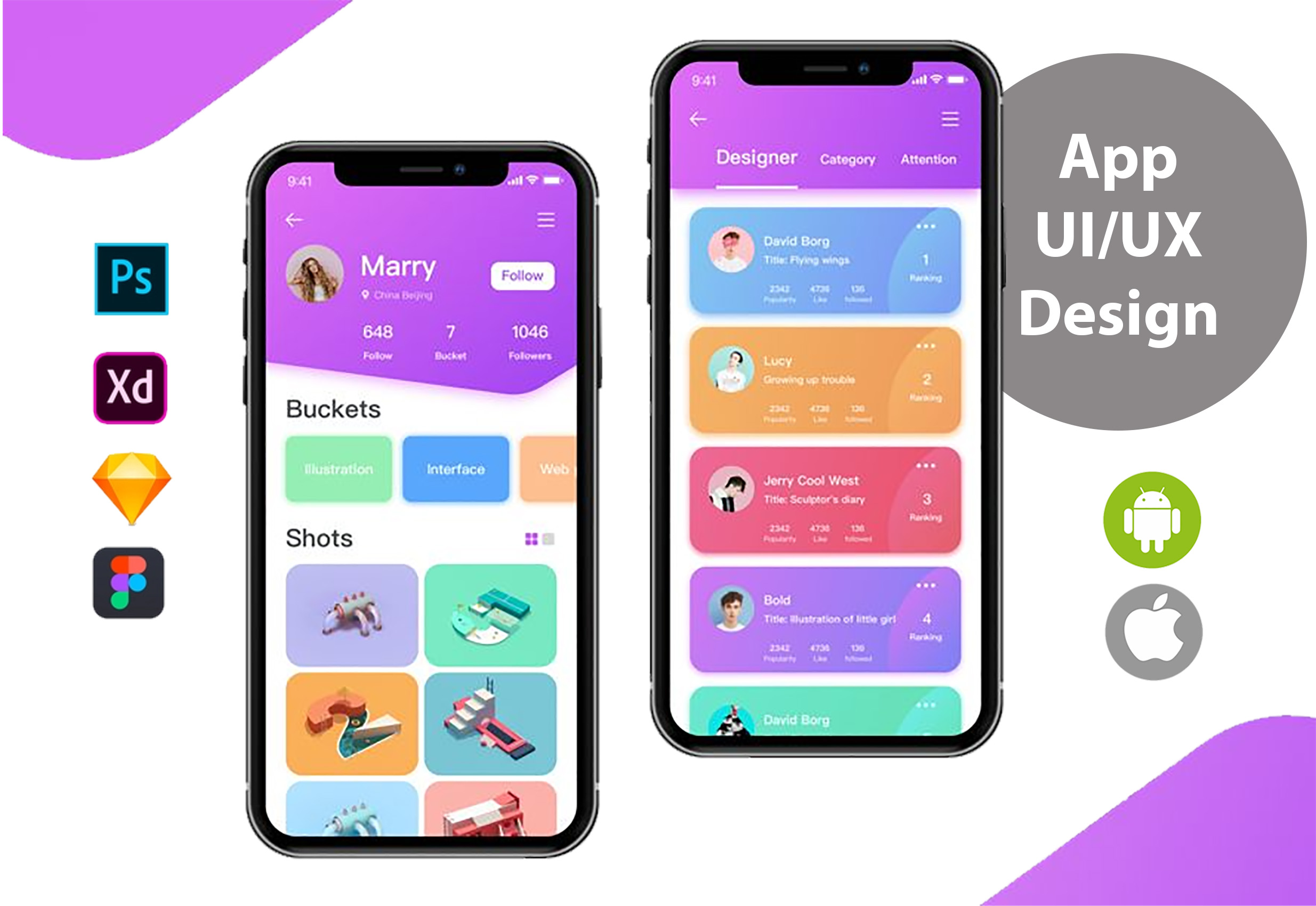design ui and ux for your mobile app using psd or xd