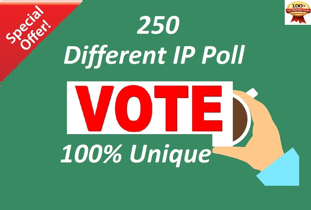 250 Different ip Votes Single Click Poll Contests