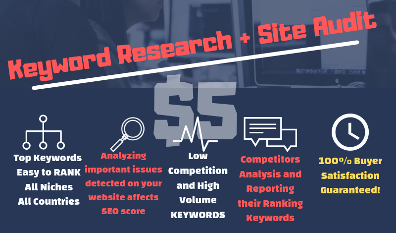 SEO keyword research,  competitor analysis,  back-links and site audit