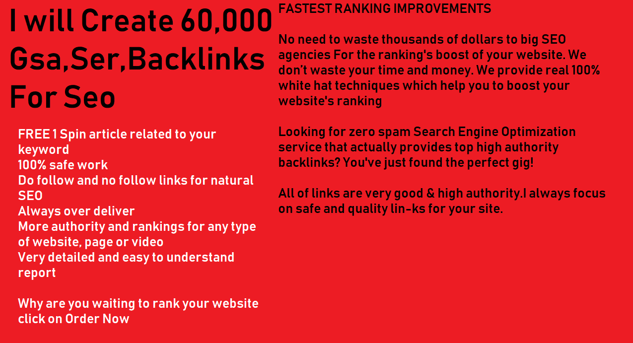 Create 60,000 Gsa, Ser, Backlinks For Seo Fastest Ranking in Google