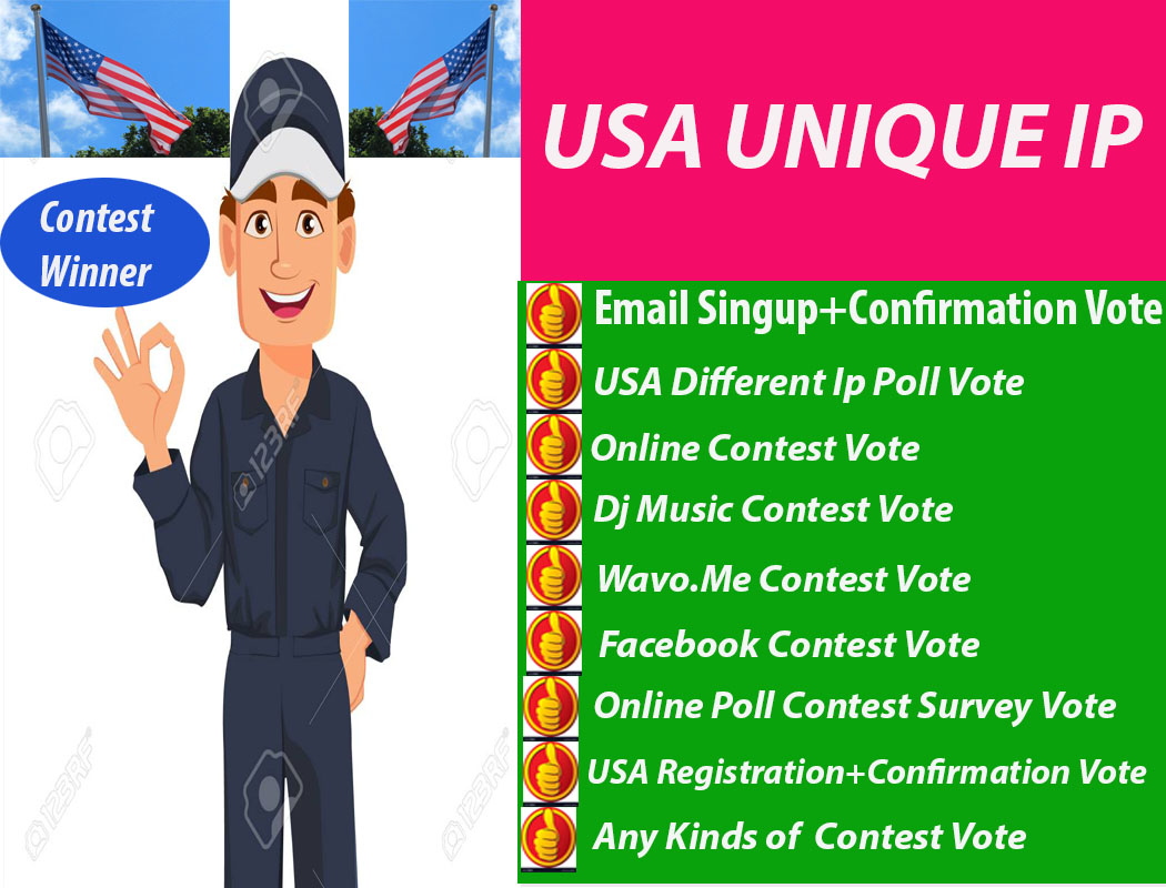 100+USA Signup+Email Confirmation Votes [Unique IP] In1-2H