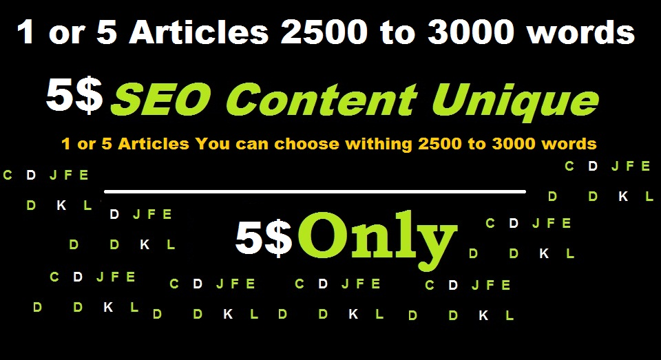 1 or 5 Articles SEO content 2500 words 3000 words total