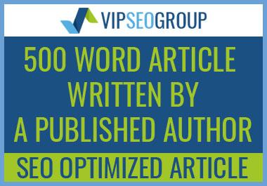 Published Author - 500 Word SEO Optimized Article