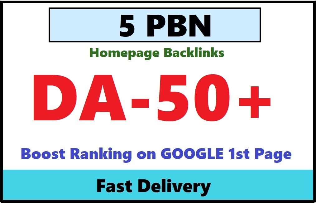 create 5 DA 50+ homepage PBN Dofollow backlinks