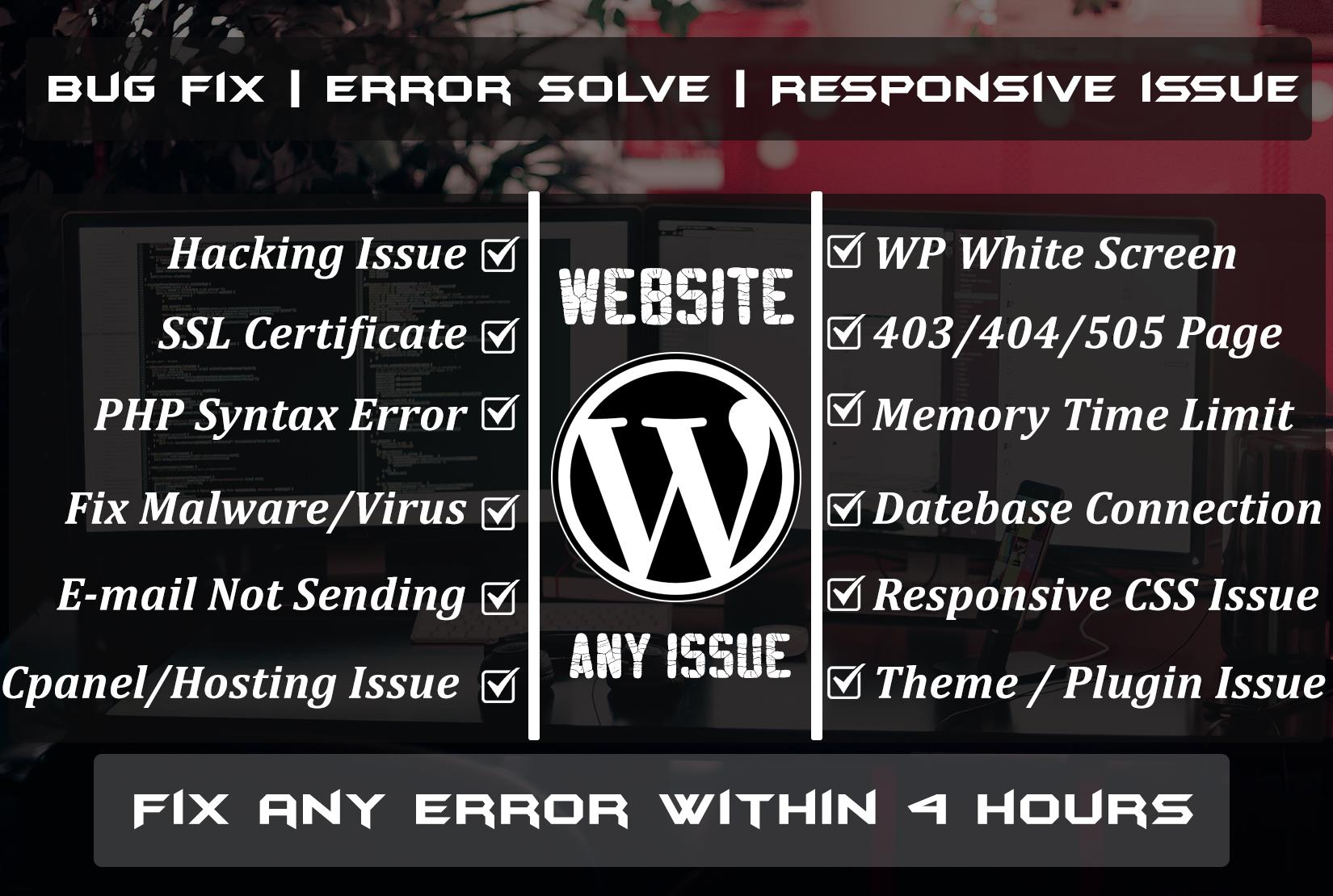 WordPress Issue Bug Fixes Solve any wordpress website problem