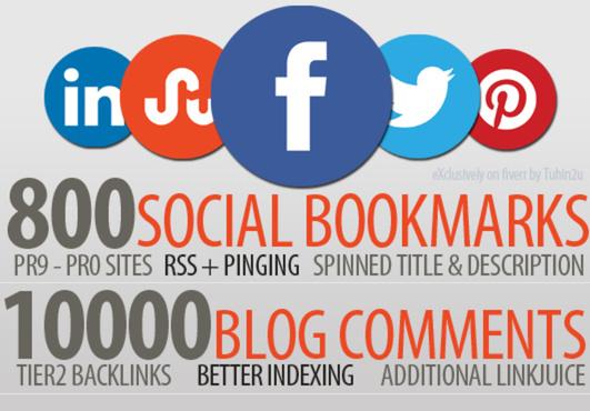 create 800 Unique Social Bookmarks + 10,000 Scrapebox Blog