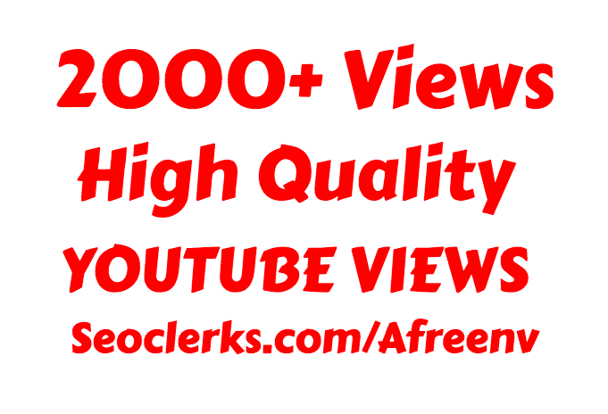 I will add Fast 2000 to 3000 High Quality Youtube vie ws