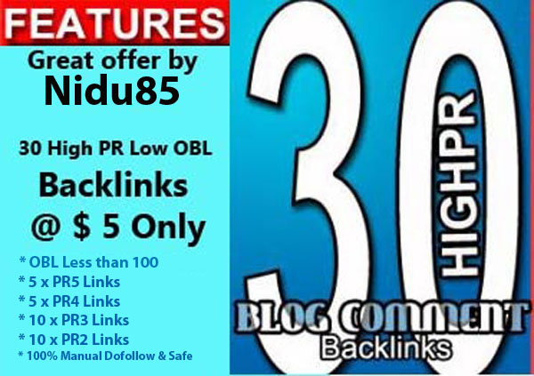 I will make 30 Low Obl Highpr Blog Comment Manually done 5xPR5 5xPR4 10xPR3 10xPR2 Dofollow back Link SEO
