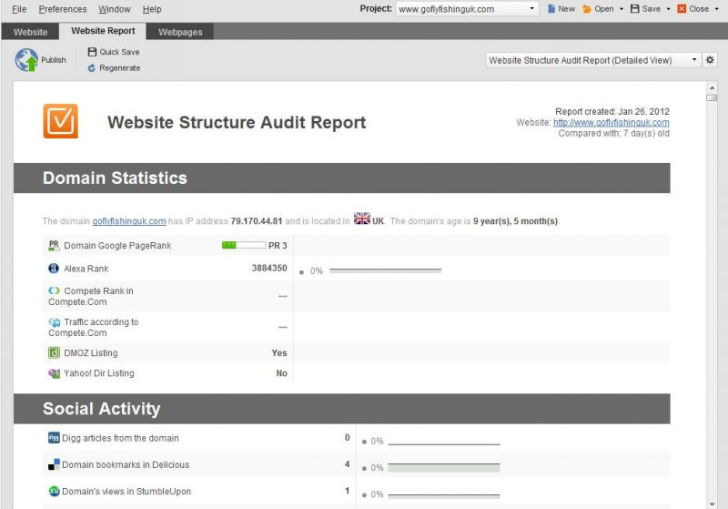 send 5 seo report of your website generated from Website Auditor SEO Suite Enteprise