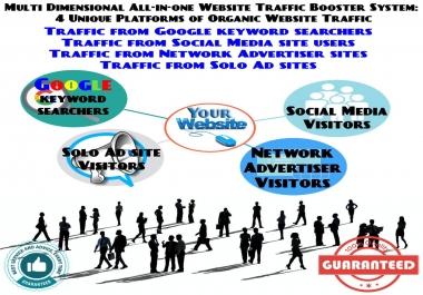Multi Dimensional Allinone Website Traffic Booster System: 4 Platforms of Organic Website Traffic