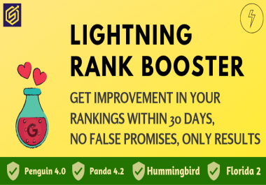 LIGHTNING RANK BOOSTER - Get Rank on Top of Google with our best tested Method