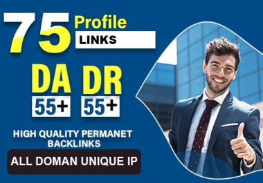 We will create 75 50 to 98DA high authority profile backlinks