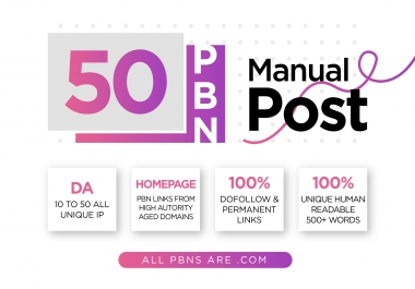 Get Perfect 50 PBN posts with high PA DA all .com domains