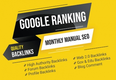 Monthly SEO Create High Quality DA Powerful Backlinks