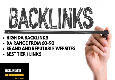 HIgh DA Backlinks || DA Range 60-90 || Links from Branded and Reputable Sites