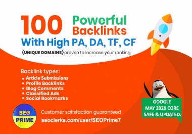 Increase Ranking with 100 Unique Domain High Authority Backlinks PA DA TF CF (Upto 100)