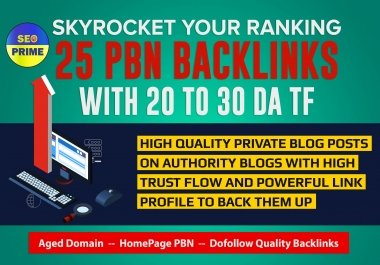 25 Aged Homepage PBN Backlinks with High Metrics And Low Spam