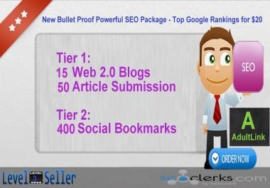New Bullet Proof Powerful SEO Package - Top Google Rankings