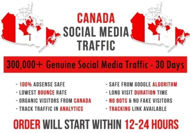 Send original 300k Canada based Social Media traffic