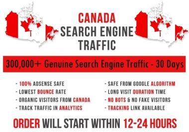 Send original 5k-300k Canada based keyword targeted Search Engine traffic