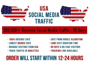 Send real 300k USA based Social Media traffic