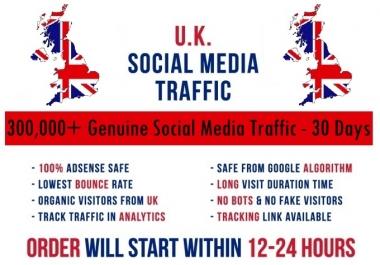 Send actual 5k-300k UK based Social Media traffic