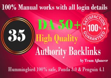 35+ backlinks from DA 50+ Do-follow