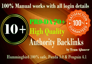 10+ PR9 DA 70+ backlinks for your site
