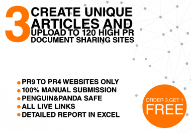 I will write 3 articles and manully create 120 high da backlinks