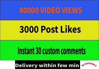 Fast 80000 Video Views or 4000 likes or 30 comments Promotion in few minute