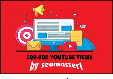 500-800 High Retention Youtube Video Promotion non drop within 24 hours