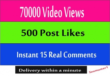 Instant 70k+ HQ social video views or 500 likes or 50 comments social promotion