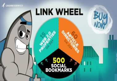 LlNKWHEEL with 75 High DA SEO Backllinks and 500 Social Bookmarks