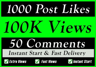 Fast 100K Video Views or 1000 likes or 50 comments Promotion in 1 minute