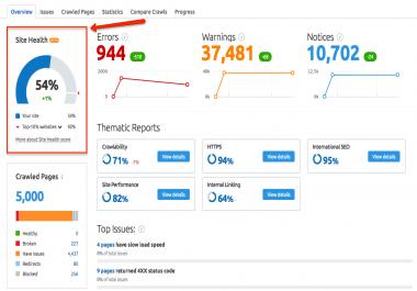 Website Audit Report using SEMRush paid tool