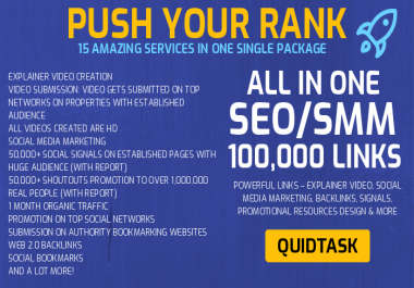 PUSH YOUR RANK & SERP - 100,000+ Links - Video creation, Backlinks, Signals, Traffic