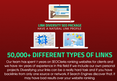Link Diversity SEO Package - Get 50,000 Diversity Links - SOCIAL SIGNALS, PBN BACKLINKS, BOOKMARKS