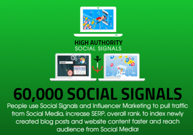 GET 60,000 SOCIAL SIGNALS ON HIGH AUTHORITY PAGES TO BOOST YOUR RANK, TRAFFIC AND SEO SCORE