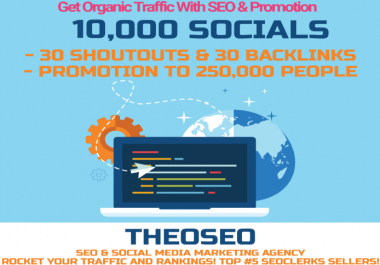 Organic Traffic for 1 month with 30 POWERFUL SHOUTOUTS, 30 BACKLINKS and 10,000 SOCIAL SIGNALS