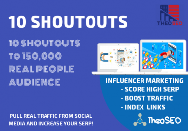Organic Shoutouts - 10 Shoutouts from Authority Pages to 100,000 Real Audience - HQ Social Signals